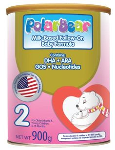 Polar Bear Milk Base Follow On, 6-18 Months(step2),900g Milk-Based Follow-On Baby Formula. Contains DHA/ARA/GOS/Nucleoticles. For Older Infants