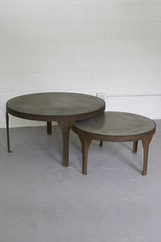 Kalalou Round Concrete Coffee Tables With Rustic Metal Frame And Legs