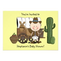 Cute Baby Boy Horse Pony Custom Western Personalized Invitations Diaper Party Shower