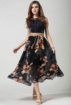 Black Sleeveless Bohemia Print Tie-waist Dress -SheIn(Sheinside) Mobile Site