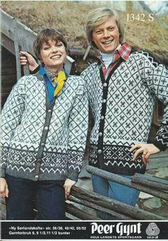 Ny sørlandskofte 1342 S Vintage Knitting, Free Pattern, Knit Crochet, Nye, Sorting, Norway, Knits, Fashion, Tricot