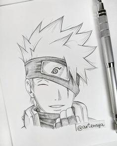 Kakashi Drawing, Naruto Sketch Drawing, Anime Boy Sketch, Naruto Drawings, Art Drawings Sketches Simple, Manga Drawing, Cute Drawings, Manga Art, Anime Naruto