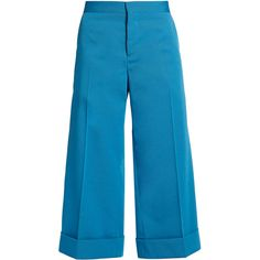 Marni Wide-leg cropped twill trousers (€290) ❤ liked on Polyvore featuring pants, capris, trousers, blue, bottoms, high-waisted wide leg pants, cuff pants, high rise pants, high waisted wide leg pants and high waisted pants