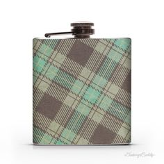 Aqua Green Plaid   6oz Whiskey Hip Flask by DrinkingBuddy on Etsy, $20.00