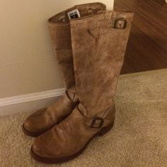 """Veronica Slouch Authentic Frye Boots - Washed Tan Like New Veronica Slouch Authentic Frye Boots. Genuine leather. These boots have been worn only a handful of times. 1"""" heel and fits bigger calf sizes. Runs true to size. Beautiful boots. Open to price negotiations/ can send more photos if you would like. Frye Shoes Heeled Boots"""