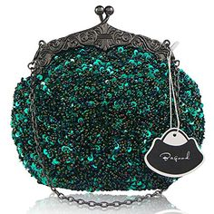 Bagood Women's Vintage Evening Bags Clutches Purses Handbag Shoulder Bag Seed Beaded Sequin Flower for Wedding Bridal Prom Party Green  [ Feature ] Sequin flower design, the surface decorated by the seed beads. The exquisite and elegant style made you 100% attracts lots of admiring glances  [ Enough Space ] Size: 20*16*8cm ( 7.8*6.3*3.2 inches). It can easily hold your cosmetics, such as makeup brushes and lip sticks, feminine hygiene products, mobile phones, wallets, sunglasses and an...