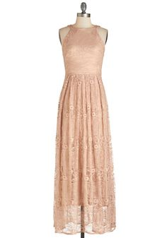 With Style and Lace Dress. Flaunt your unparalleled elegance in this dusty-peach maxi dress from Coconinno by Eva Franco. #blush #wedding #bridesmaid #modcloth