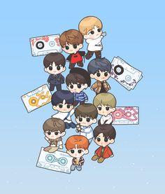 Wanna One tape fanart Got7 Fanart, Kpop Fanart, Ong Seongwoo, My Destiny, Ha Sungwoon, Cute Chibi, First Art, 3 In One, Cute Stickers