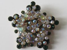 Stunnning Large Vintage Green Rhinestone and AB Star Brooch- Holiday Brooch by Lavendergems on Etsy