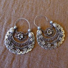 "Mexican Silver arracadas filagree - large Frida Style - wedding Oaxaca 2"" x 1 1/2"""