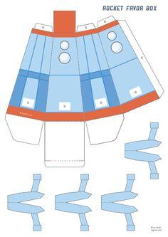 Printable Rocket Favor Box - M. Rocket Ship Party, Diy Rocket, Idee Baby Shower, Space Baby Shower, Festa Toy Story, Toy Story Party, Space Party, Space Theme, Spaceship Craft