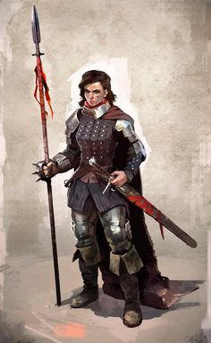 Female fighter sword and spear in studded leather armour DnD / Pathfinder character concept portrait Dungeons And Dragons Characters, Dnd Characters, Fantasy Characters, Female Characters, Fantasy Character Design, Character Design Inspiration, Character Concept, Character Art, Female Armor