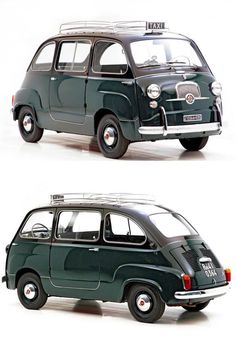 Vintage Car Models FIAT 600 MULTIPLA - 1956 - The Fiat 600 Multipla was the result of WWII austerity in Europe and the need for very cheap motorcars that could carry more than 2 people, as well as luggage. Fiat 600, Microcar, Vw Minibus, Fiat Cars, Auto Retro, Mini Cooper, Weird Cars, Bmw, Cute Cars