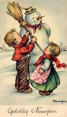 Vintage greeting card  features   snowman and littles