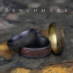 Textured feather rings from the Benchmark, Ammara Stone, and Tantalum Collections. Benchmark Rings, Feather Ring, White Gold Rings, Luxury Jewelry, Wedding Bands, Engagement Rings, Texture, Mens Fashion, Diamond