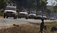 """Pickup Truck Warfare"" Toyota Land Cruisers carrying Chadian mercenaries  leading the Seleka alliance's charge into Bangui,  Central African Republic (March 2013)  http://warontherocks.com/2014/02/the-pickup-truck-era-of-warfare/"