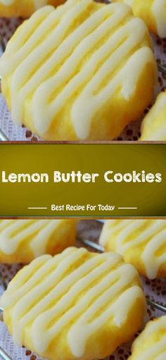 Lemon Butter Cookies - The ingredients and how to make it please visit the website. Lemon Desserts, Lemon Recipes, Cookie Desserts, Just Desserts, Baking Recipes, Cookie Recipes, Delicious Desserts, Dessert Recipes, Yummy Food