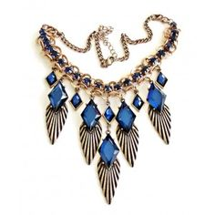 """Aphrodite's Dream Necklace: Divinity coats this beautiful necklace. Wing like metal pedals hang from deep blue sapphire-like sparkly stones. Gold chains hold the diverse shapes and this necklace not only adjustable, but is a one of a kind find. • Length:16.5"""" with 3"""" extender"""