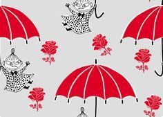 Moomin - Little My with Umbrellas - Tapetit / tapetti - Photowall