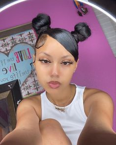 Easy Black Girl Hairstyles, Black Girl Ponytails, Girls Natural Hairstyles, Slick Hairstyles, Baddie Hairstyles, Ponytail Hairstyles, Straight Hairstyles, Natural Hair Styles, Protective Hairstyles