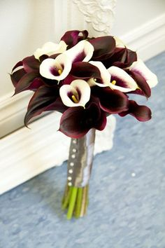 Purple and White Calla Lily  reception wedding flowers,  wedding decor, wedding flower centerpiece, wedding flower arrangement, add pic source on comment and we will update it. www.myfloweraffair.com can create this beautiful wedding flower look.