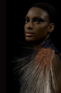 xploring the paradox of dangerous desires, Intimacy Series: Tactile Treatment by IZZY PARKER stunning jewelery handwoven from 11,570 stainless steel and copper acupuncture needles, texturally attractive, with the potential to injure.