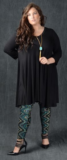 Chevron Vertical Print One Size PLUS Looks great with long tunics & boots!! 65% Polyester 35% Cotton