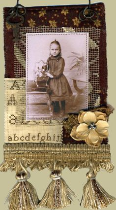 Linens and old photos. Add beads and other sundries....voila!