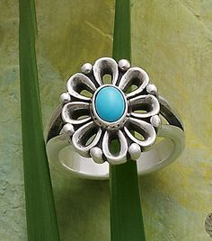 James Avery De Flores Ring with Turquoise James Avery, Turquoise Jewelry, Silver Jewelry, Ring Necklace, Earrings, Avery Jewelry, Flower Meanings, Natural Gemstones, Blind