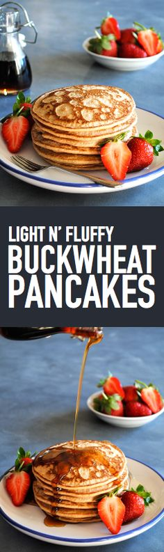Light N' Fluffy Buckwheat Pancakes. These 4 ingredient pancakes are super quick and easy to make for Sunday Morning Brunch. Not to mention they're Gluten Free, Dairy Free, Nut Free, Sugar Free and Paleo Friendly. Whole Food Recipes, Diet Recipes, Vegetarian Recipes, Cooking Recipes, Healthy Recipes, Easy Recipes, Freezer Recipes, Freezer Cooking, Cooking Food