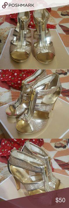 Michael kors pale gold heels Size 6 brand new sparkly pale gold mk heels Michael Kors Shoes Heels