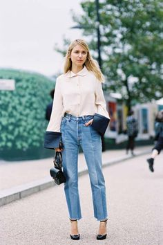 STREET STYLE white shirt, jeans. @roressclothes closet ideas #women fashion outfit #clothing style apparel