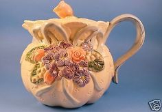 Fitz-and-Floyd-Teapot-Roses-Hydrangeas-Violets-Blue-Ribbon-Handle-Floral-Shabby