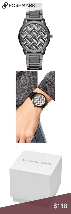 """Michael Kors Hartman Gunmetal Steel Watch 100% Authentic Michael Kors!   Buy with confidence!  • MSRP: $275.00 • Style: MK3593  Michael Kors Hartman Gunmetal Crystal Glitz Steel Watch   Features: • Color: Round gunmetal case • Dial color: Silver/gray/mother of pearl • Bezel: Gunmetal • Bracelet material: Stainless steel • Clasp: Gunmetal deployment w/ """"Michael Kors"""" engraved • Case size: 38mm • Case thickness: 9mm • Band width: 20mm • Water resistant: 50 Meter  Please feel free to ask any…"""