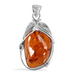 Liquidation Channel: Baltic Amber Pendant in Sterling Silver (Nickel Free)