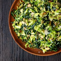 recipe for Shredded Kale and Brussels Sprout Salad with Lemon Dressing.