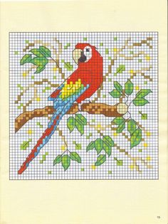 no color chart available, just use pattern chart as your color guide. or choose your own colors. Cross Stitch Numbers, Cross Stitch Bird, Cross Stitch Animals, Cross Stitch Flowers, Cross Stitching, Cross Stitch Bookmarks, Cross Stitch Charts, Cross Stitch Designs, Cross Stitch Patterns