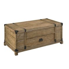 Joss & Main Shelton Storage Coffee Table This wooden trunk table is perfect for the cabin-themed home, keeping throw blankets and board games easily on-hand, yet out-of-sight. Its weathered appearance and gritty edge-clamp hardware add rugged character.