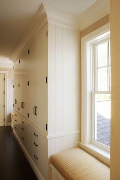 Hallway floor to ceiling storage ideas...modern country, shabby chic, farmhouse, white and black, beadboard