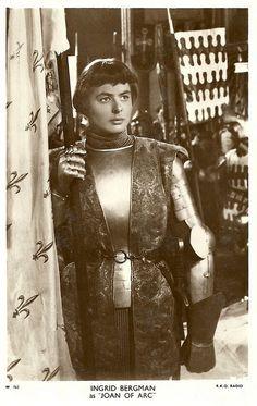 "Ingrid Bergman in ""Joan of Arc"" (1948)| Doesn't she look like Isabella Rosellini here!"