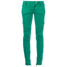 Balmain Jeans Green Zipped Skinny Denim Jeans ($600) ❤ liked on Polyvore featuring jeans, pants, green, pants/jeans, skinny fit jeans, zipper jeans, balmain, balmain jeans and super skinny jeans