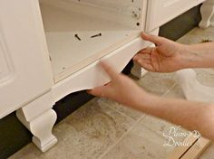 Attaching Vanity Skirt and Legs/Feet to either kitchen base cabinets or bathroom vanity cabinets.