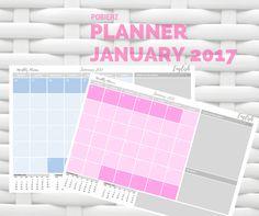 Planner na styczeń 2017 do pobrania & druku w dwóch wersjach kolorystycznych :)  #planner  #calendar #kalendarz #january #styczeń