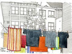 Gerard Michel | Le linge sèche dans la cour | Flickr: Intercambio de fotos Building Illustration, Illustration Art, Drawing Sketches, Art Drawings, Building Drawing, Interior Design Sketches, Artist Journal, Journal Themes, Urban Sketchers