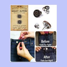 """Adjust-A-Button is a movable pin-like button which allows you to either extend or reduce your waistbands up to 1½"""" instantly. It look like an original Jeans button and has a flat back clasp so it won't poke or pinch you. Great to use if you are in between sizes or pregnant. Also great as a quick fix for lost buttons, to help close the waist gaps or smooth muffin tops or even pin jean jacket collars. Long-lasting and re-usable…"""