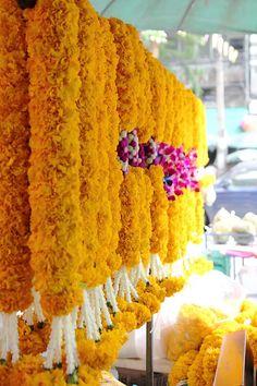 garlands at Flower Market in Bangkok, Thailand Laos, Marriott Hotels, Arte Popular, Flower Market, Chiang Mai, Bangkok Thailand, Southeast Asia, Rainbow Colors, Floral Arrangements