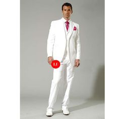 Large and Tall Men Available 3 Piece White Dress Suits Tuxedos SKU-123081     Purple not pink!