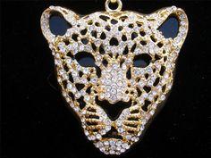 Leopard Cheetah Cat Figural Rhinestone Black Enamel Gold Tone Vintage Necklace | eBay