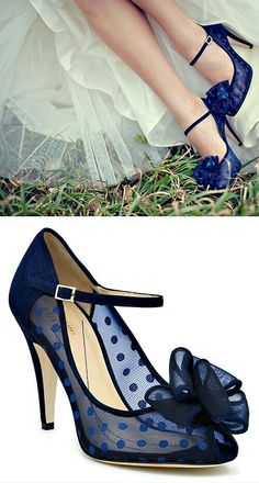 "beautiful ""something new"" and ""something blue"" polka dotted pumps"