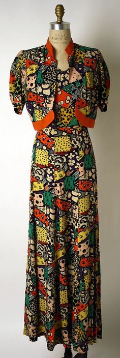 Ensemble, Dinner.  Elsa Schiaparelli  (Italian, 1890–1973).  Date: fall 1936. Culture: French. Medium: synthetics.